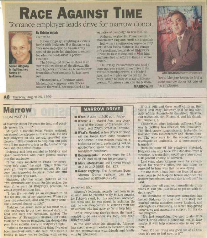 1999-Philanthropy Marrow Drive PR Clip Headline
