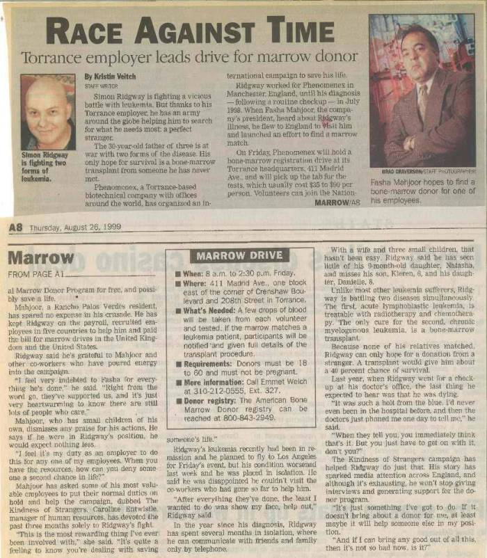 1999-Philanthropy Marrow Drive PR Clip Headline